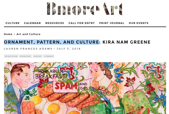 Kira Nam Greene Interview in BmoreArt Magazine – Ornament, Pattern and Culture