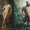 Left: Jean-Baptiste Frédéric Demarais, Le Berger Paris, 1787, oil on canvas; Right: Pierre et Gilles, Mercury, 2001, painted photo