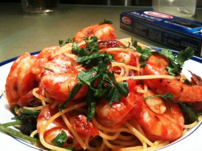 Kira Nam Greene Spaghettini with Shrimps